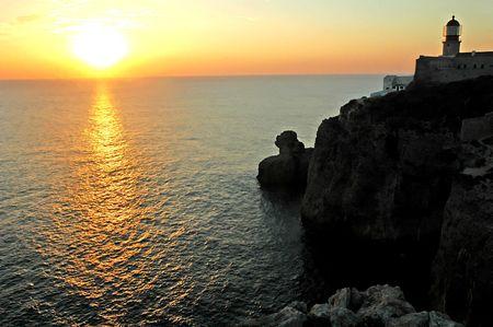 Zonsondergang boven de Atlantische Oceaan, Sagres Portugal