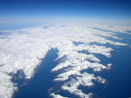 North to Alaska - Aerial View of Coastline Stock Photo