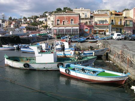 Working Boats - Aci Trezza, Sicily Stock Photo