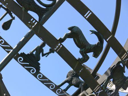 sun dial: Astrological symbols on a sun dial. Stock Photo