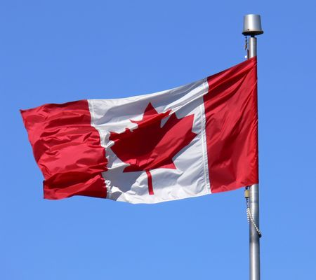 Canadian Flag flapping proudly in the breeze.