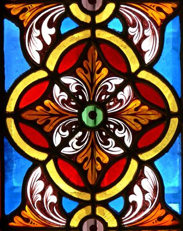 Lovely pattern in a stained glass window.