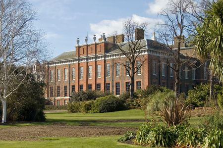 Beautiful Kensington Palace, in a garden setting, Hyde Park, London. Stock Photo