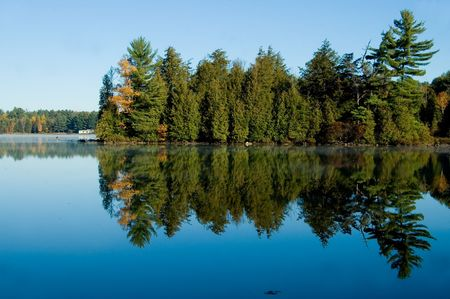 Pine trees reflected in the calm clear waters of a country lake.