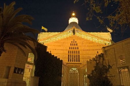 nazareth: Night view of the Basilica of the Assumption, Nazareth, Israel. Stock Photo