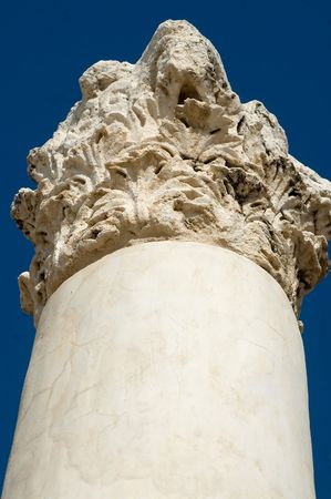 roman pillar: Looking up an ancient Roman pillar at Bet Shean, Israel.