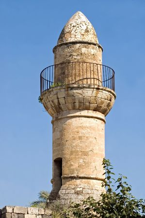 Ancient Minaret on the ruins of an historic mosque, Tiberias, Israel.