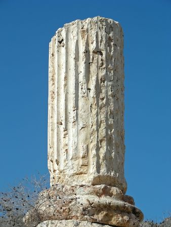 antiquity: Classic looking bit on antiquity - a column sticking up from the Roman ruins at Bet Shean, Israel. Stock Photo