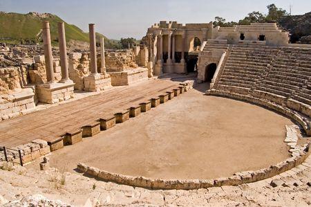 Oude Romeinse theater in Bet Shean, Israël.