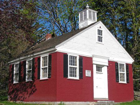 Historische oude schoolgebouw in Chelmsford, Massachusetts.