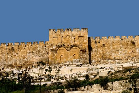 The Golden Gate in the walls around the old city of Jerusalem.