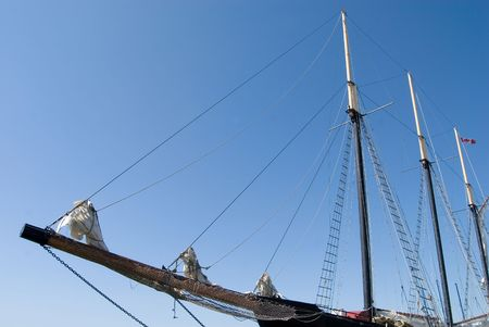 Tall ship and rigging in the Toronto harbour. Stok Fotoğraf