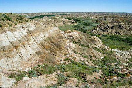 Landscape of the Badlands in Dinosaur Provincal Park, Alberta.