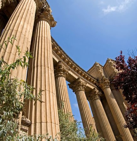 A line of columns soaring up to the sky at the Palace of Fine Arts, San Francisco, California. Stock Photo