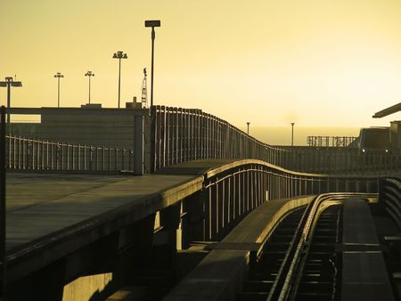 road warrior: Sunrise as the weary road warrior takes the train to the terminal at SFO.