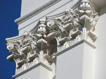 Very classic looking pillars, on the California State House, Sacramento. Stock Photo