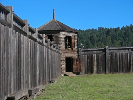 guard house: A guard house on the perimeter of the old Russian fort - Fort Ross, California.