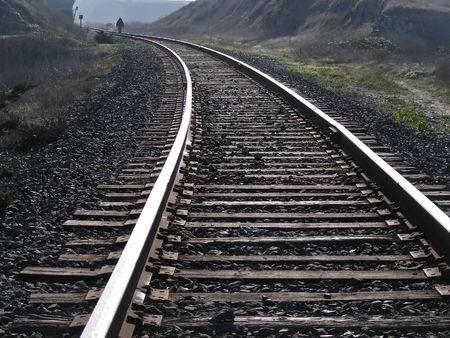 davenport: Walking along the tracks, near Davenport, California.