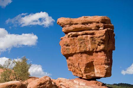 A precariously balanced rock, Garden of the Gods, Colorado Springs, Colorado. Stock Photo