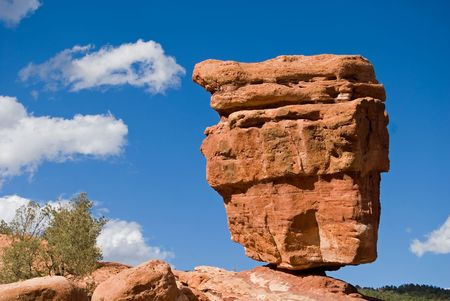 A precariously balanced rock, Garden of the Gods, Colorado Springs, Colorado. Stock Photo
