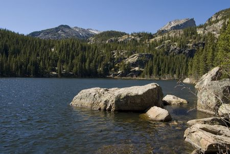 bear lake: Beautiful jewel of a lake, Bear Lake, Rocky Mountain National Park, Colorado. Stock Photo