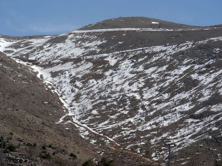 Mount Hermon, with snow still on top, the northern Golan, Israel.