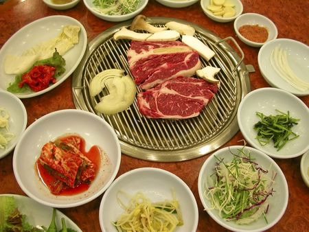 Looking delicious and all ready to cook up - bulgogi in a restaurant in Seoul, Korea.