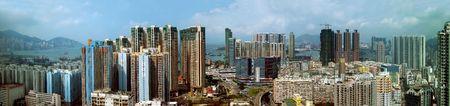 Een panoramisch uitzicht over de ongelooflijke architectuur van Kowloon, Hong Kong.