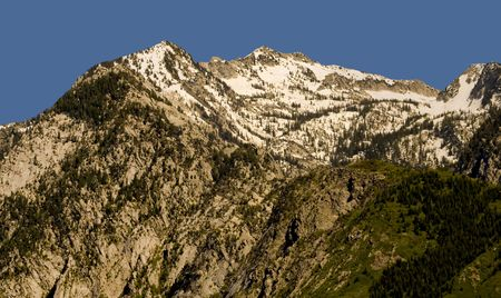 wasatch: Peaks of the Wasatch Mountains, east of Salt Lake City Utah, still with snow on top.