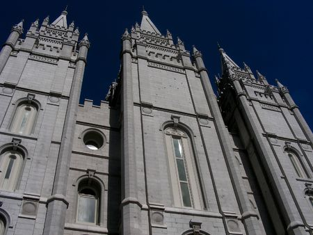 mormon temple: A panoramic view of the Mormon Temple in Salt Lake City, Utah.