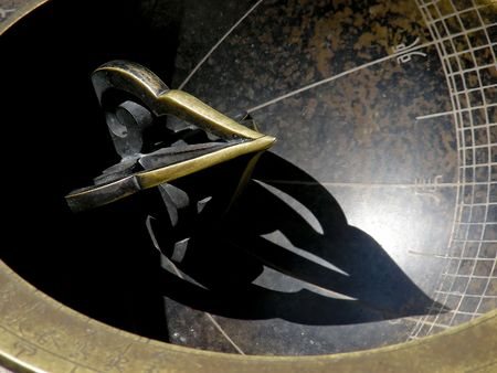timekeeping: The gnomen of a sundial, on the grounds of a palace in Seoul, Korea. Stock Photo