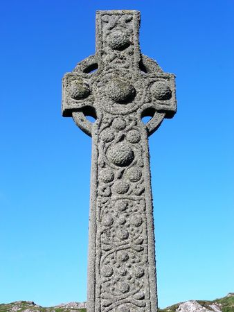 The ancient cross of St. Martin which has stood outside the Church of St. Columba on the Isle of Iona, Scotland, for more than 1000 years.
