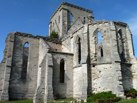 st: The historic Unfinished Church, St. George, Bermuda.