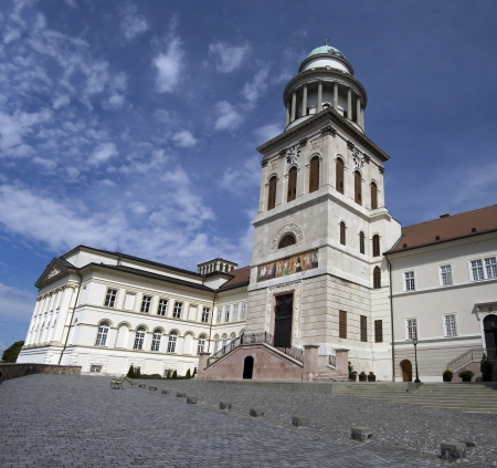 The courtyard of the historic basilica at Pannonhalma, Hungary. Stock Photo