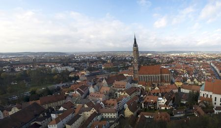 landshut: A view of historic Landshut, Germany, looking out over the Cathedral, from the Castle.