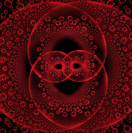 Locked and interlocking red hearts on this fractal. Stock Photo - 4934285