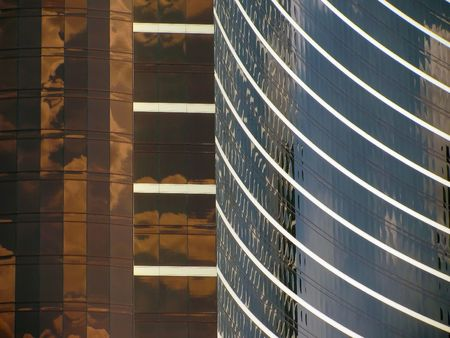 Silver and gold and curves - some of the fantastic architecture of Las Vegas, Nevada.                                Stock fotó