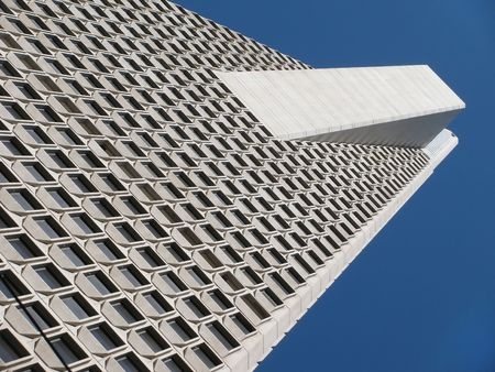 transamerica: The tower in San Francisco, from a different angle.                                Stock Photo