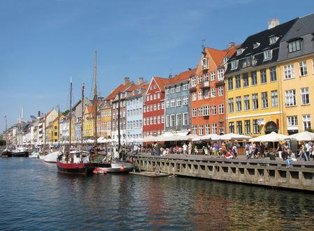 The wonderfully colorful harbor in downtown Copenhagen, Denmark.