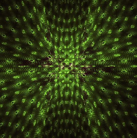 Green circles forming a perspective of sorts on this fractal.