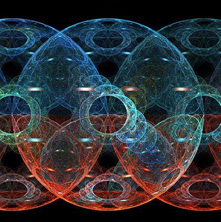 interlocking: Interlocking spheres like planets inside planes on this fractal.
