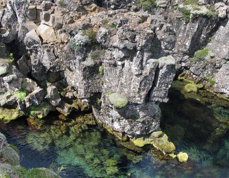 Looking down into the clear waters of Thingvellir Stock Photo