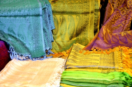 Collection of silk scarves of different colors Stock Photo