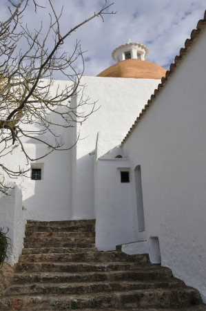 Typical church of the people of Ibiza Stock Photo