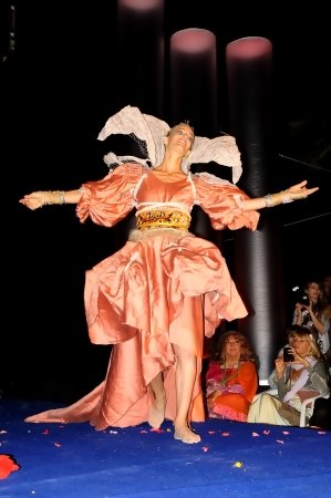 LAS DALIAS-IBIZA-SPAIN-JUNE 192011. Various artists fashion convene once a year a fashion show with their new creations using recycled material.