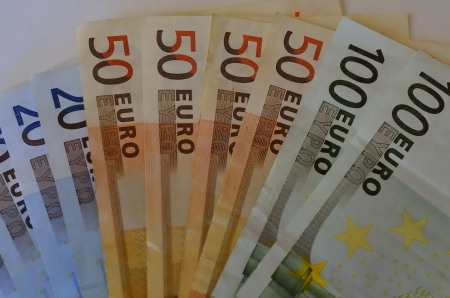 Several money bills of different value in euros Stock Photo - 17749622