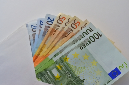 Several money bills of different value in euros