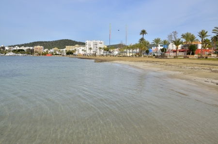 Landscape of a beach in Ibiza in winter