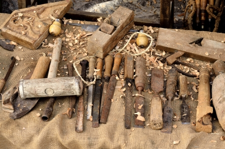 Tools of the carpenter, for basic work. Stock Photo