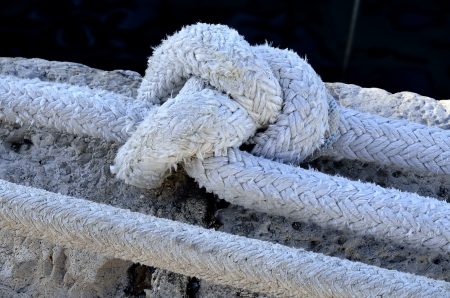 A rope tied knot with the mooring of yachts